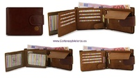 LEATHER WALLET CARD TWO TONE WITH PURSE AND CLOSED