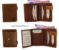 LEATHER WALLET CARD WITH PURSE TWO TONE