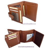 LEATHER WALLET FOR LEFT-HANDED WITH EXTERIOR CLOSURE