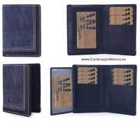 LEATHER WALLET WITH FABRIC HAIR FINISH - IT'S AUTHENTIC SKIN-