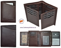 MAN WALLET BLUNI TITTO MAKE IN LUXURY LEATHER 18 CREDIT CARDS GRAPHITEC