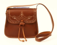 OILED LEATHER BAG WITH FLAP TRIM IN LEATHER