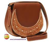 OILED LEATHER BAG WITH LEATHER FLAP