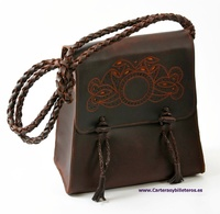 OILED LEATHER BAG WITH LEATHER TRIM SEWING AND ORANGE BADANA