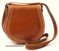 OILED LEATHER BAG WITH SATIN LEATHER FLAP