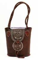OILED LEATHER HANDBAG BAG WITH DOUBLE STRANDED