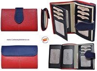 PORTFOLIO WOMEN LEATHER UBRIQUE ROZA AND NAVY BLUE VERY ELEGANT