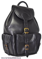 PREMIERE LEATHER BACKPACK WITH FOUR POCKETS SIZE BIG