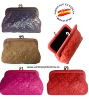 PURSE WITH LEATHER NOZZLE WITH BEAR ENGRAVINGS - 4 COLORS -