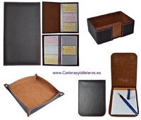 SET LEATHER DESK ACCESSORIES