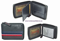 SMALL WALLET MAN ZIPPER AMERICAN NAVY RED