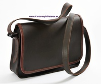 UNISEX OILED LEATHER BAG WITH LEATHER TOP AGED