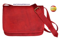 UNISEX RED OILED LEATHER BAG WITH LEATHER TOP AGED