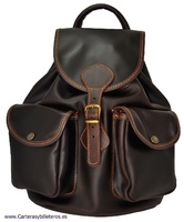 VEAL LEATHER BACKPACK WITH 2 POCKETS FRONT BIG