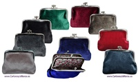 VELVET PURSE WITH METAL DOUBLE NOZZLE