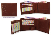 WALLET MAN WITH PURSE  VERY COMPLETE IN  LEATHER ZIG-ZAG