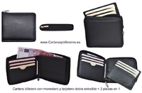 WALLET WITH PERIMETER ZIPPER + CARD HOLDER =  2 PIECES OF LEATHER MADE IN SPAIN -