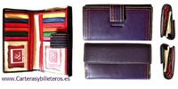 WALLET WOMEN IN CATTLE SKIN AND COLOR STITCHING