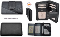 WOMEN'S LEATHER WALLET AND CARBON FIBER