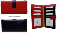 WOMEN'S SOFT LEATHER WALLET WITH PURSE AND BILLFOLD LONG